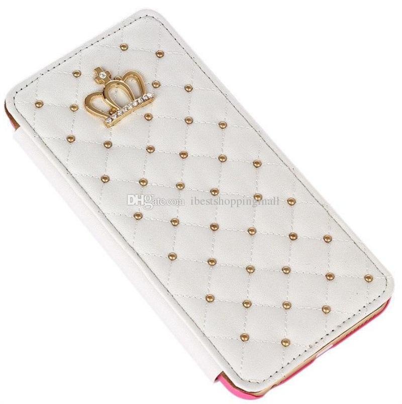 Rivet glitter diamante coroa carteira de couro case com moldura da foto da aleta capa para iphone x 8 7 6 s plus samsung s9 s8 plus nota8 s7 borda