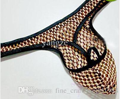 new Sexy Men's Thongs Underwear Qmilch Mesh Gridding Cell Fashion Element G-string T-back Men's Briefs Underwear