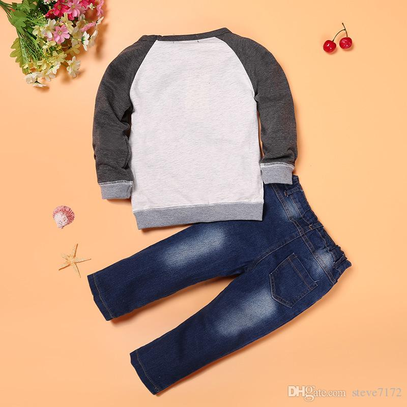 Fashion Baby Boy 2-Pieces Clothes Sets Children Sweatshirt Jeans Suit Boys Outfits Kids Clothing Casual Infant Sweater Trousers Tee Shirts