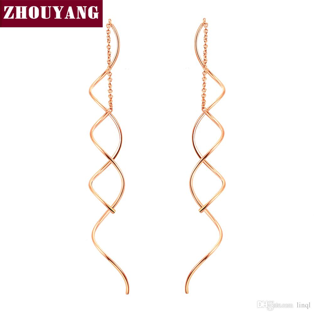 Online Cheap Top Quality Simple Spiral Ear Line Rose Gold Color