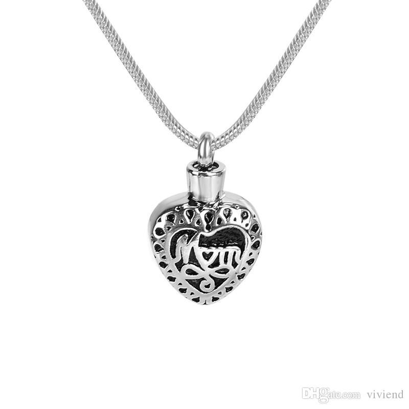 Joyería de cremación Diamante en forma de corazón en oro Collar de cenizas de la urna