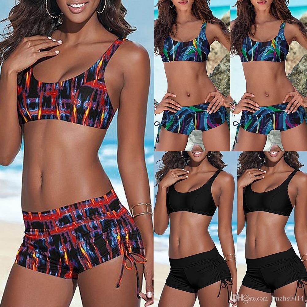 2018 new Women Push-up Padded Shorts Bandage Bikini Set Swimsuit Triangle Swimwear Mid Waist Biquinis Beach Bathing Suit ISP