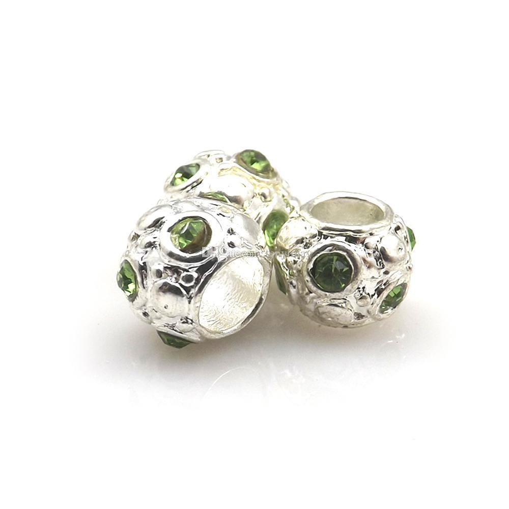 Zilveren plaat grote gat losse kralen gemengde 100 stks kristal ronde legering charme kralen fit sieraden DIY