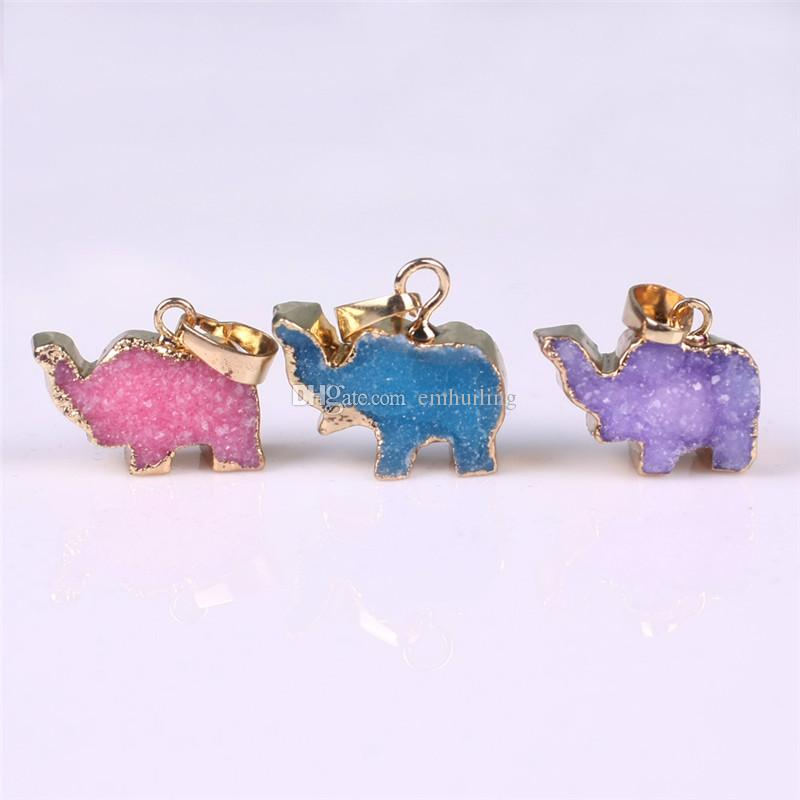 Brazilian Elephant Druzy Pendant Unique Natural Purple Pink Blue Druzy Pendant Lucky Peace Animal Baby Elephant Gold Edged Charms Wholesale
