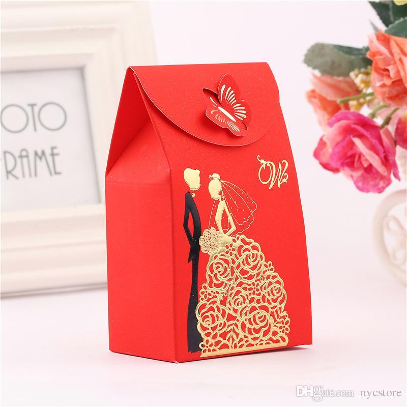 Конфеты пользу коробки красный прямоугольник свадебные принадлежности пользу подарки бумага для Mariage украшения