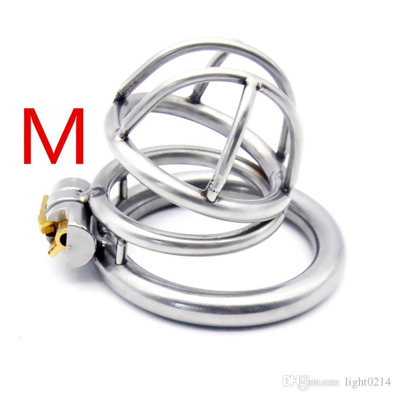 En acier inoxydable en forme d'arc Cockring dispositif de chasteté masculine Cock Cage Sex Toys pour hommes pénis serrure en métal petites cages de chasteté pour homme G7-1-175