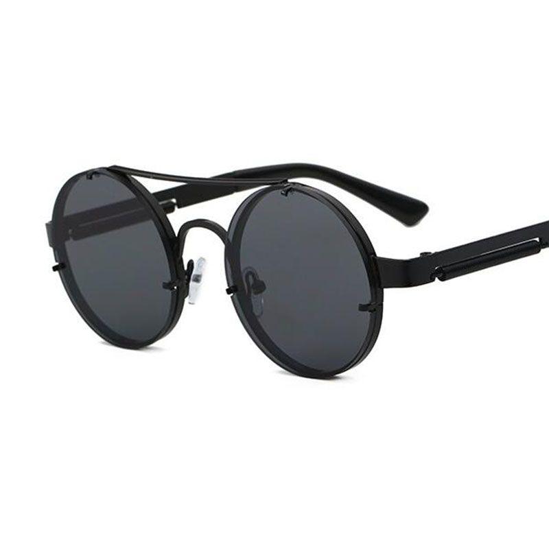6b76aee8d87f Steampunk Sunglasses Round Dark Glasses Male Gold Frame Metal Gothic Mens  Sunglasses Women Shades Brand Designer Retro Glasses Lady Eyewear Sport  Sunglasses ...