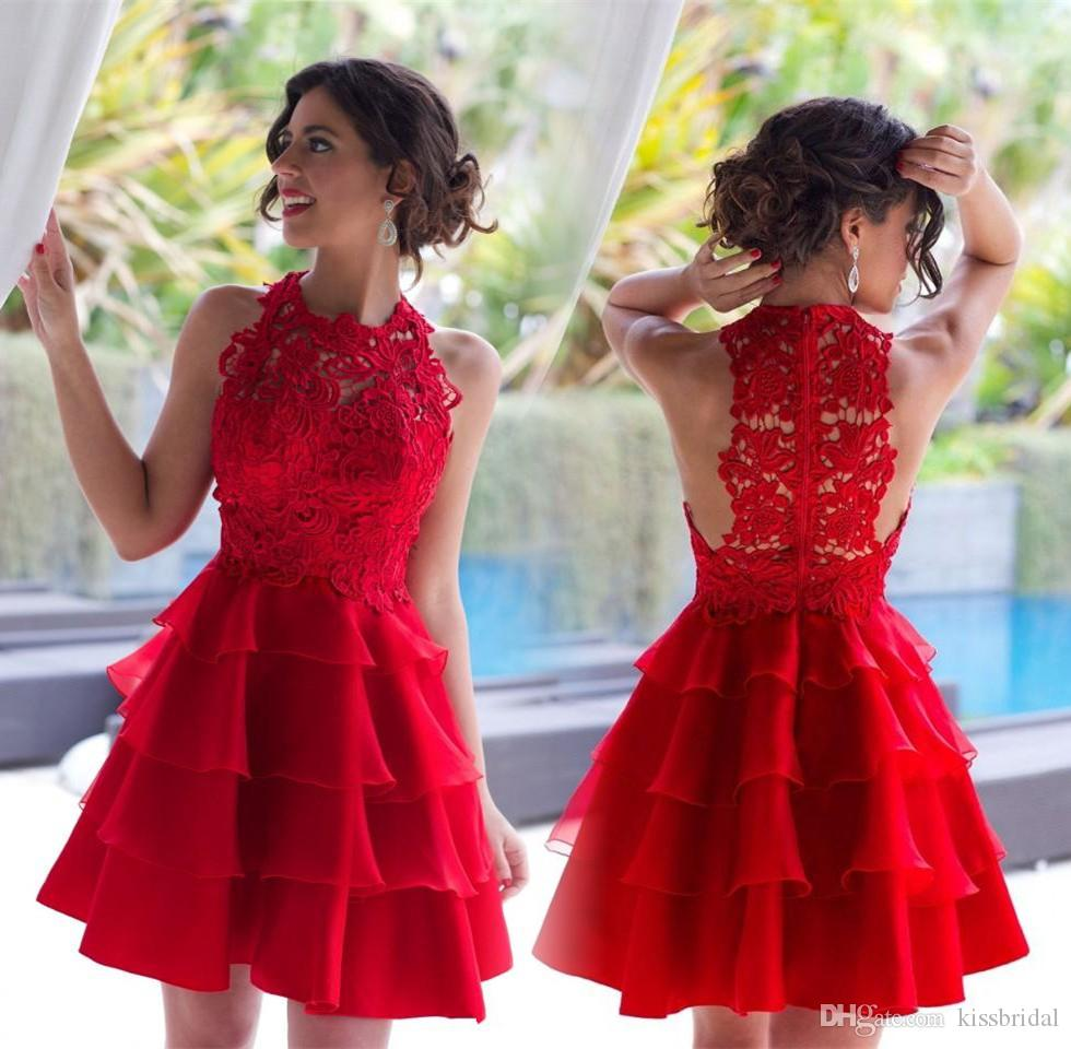 Red Vintage Lace Arabic Homecoming Dresses Tiers Ruffles Skits Jewel Neck Zipper Back Short Prom Dresses Lace Bodice Cocktail Dresses