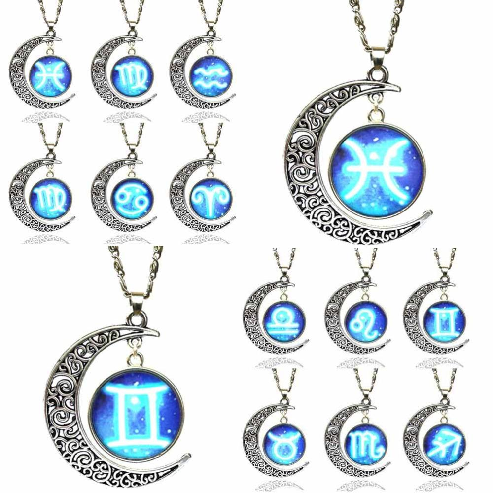 Wholesale- Glass Zodiac Sign Pendant Chain Necklace Constellation Womens  Jewelry Jewelry Diamond Necklace Necklace Jewelry Stand Necklace Pod Online  with ... 86721a3954