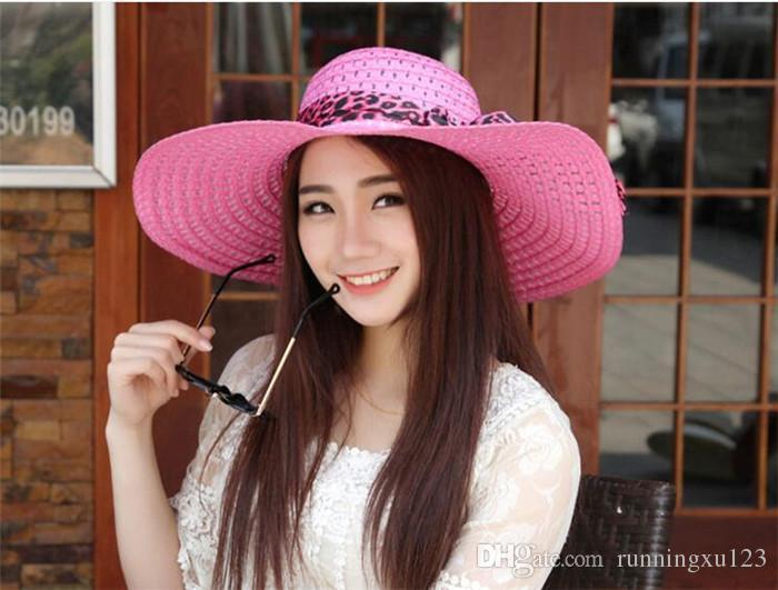 Breiter Rand Diskette Falten Sonnenhut Sommer Hüte für Frauen Tür Sonnenschutz Strohhut Frauen Strand Hut R025