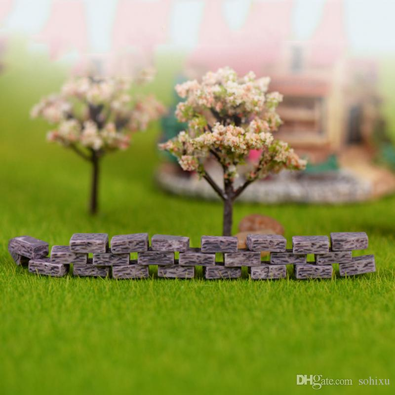 Brick Statue House Siege Resin Craft Mini Fairy Garden Miniatures Terrarium Figurines Bonsai Tool Landscape Jardin Gnomes