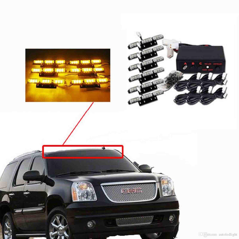 Auto LED Light Amber/White/White &Amber 54 LED Emergency Vehicle Strobe Flash Lights for Front Deck/Grille or Rear light flash