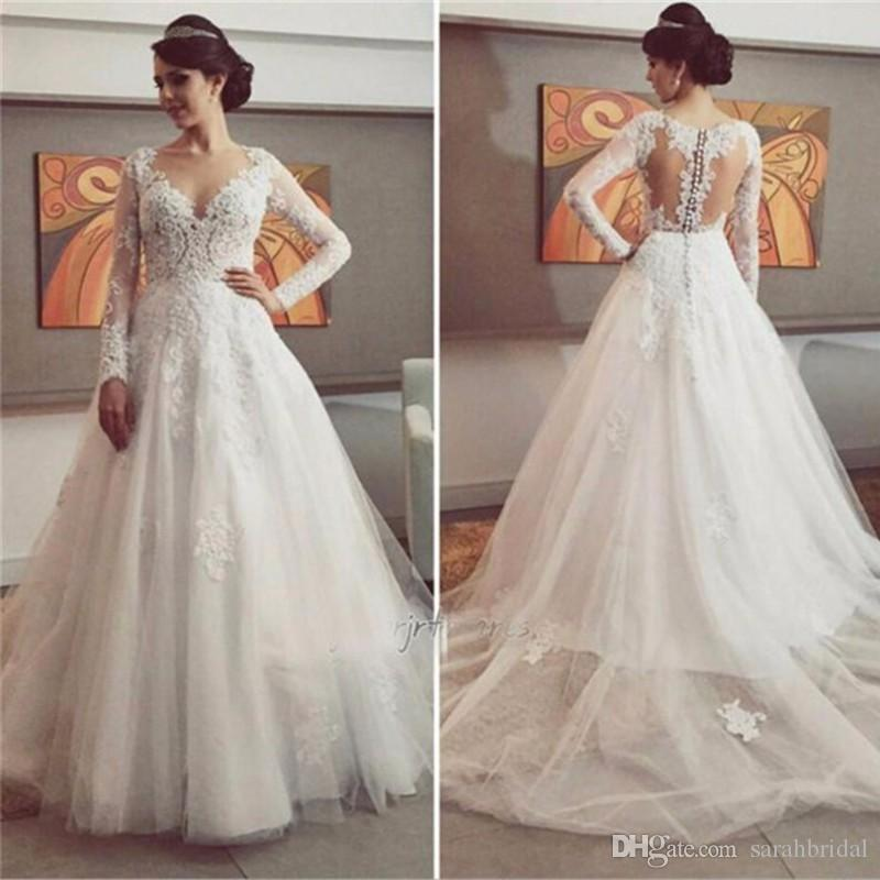 2019 lace Latest Fashion Wedding Dresses A Line Ball Princess Style Brides Ceremony Church Formal Wear with tulle Sheer Neck Bridal Gowns