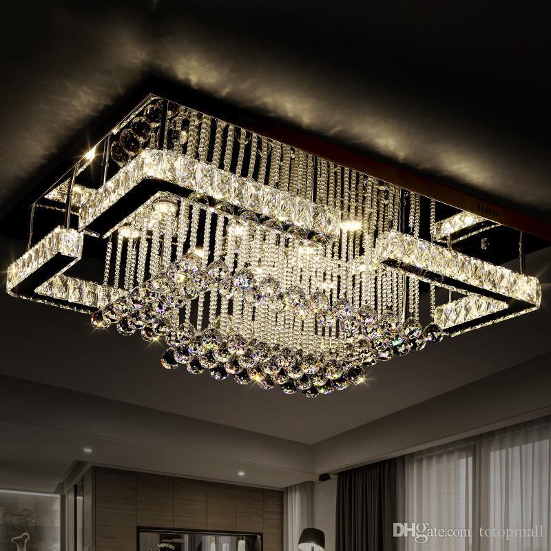 Großhandel 2016 Moderner Luxus Pandant Licht Rechteckige Led K9 Krysal  Kronleuchter Decke Montiert Kristall Fixutres Foyer Kronleuchter Für  Wohnzimmer Von ...