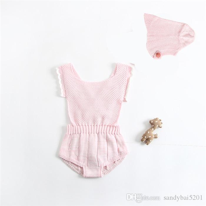 Baby Girls Crochet Rompers Kids Girls Sleeveless Wool Jumpsuit with Hat 2017 Infant Toddler One-piece Princess Romper Children Clothing B643