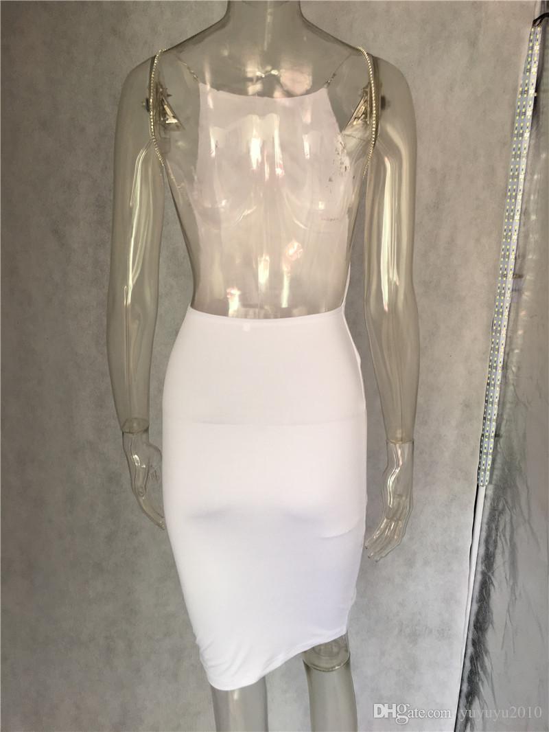 Women's Sexy Club Dresses Black White Backless Night Club Party Dress Back Open Strap Bodycon Dress Wrap Bandage Dress For Women