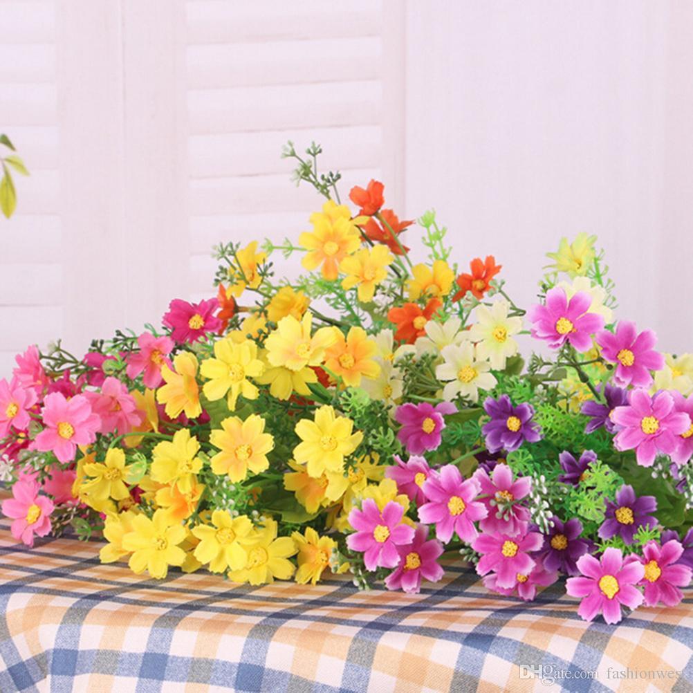 cabezas de flores de seda 1 ramo 28 cabezas dedicadas de moda Fake Daisy seda Flower Home Wedding Decor