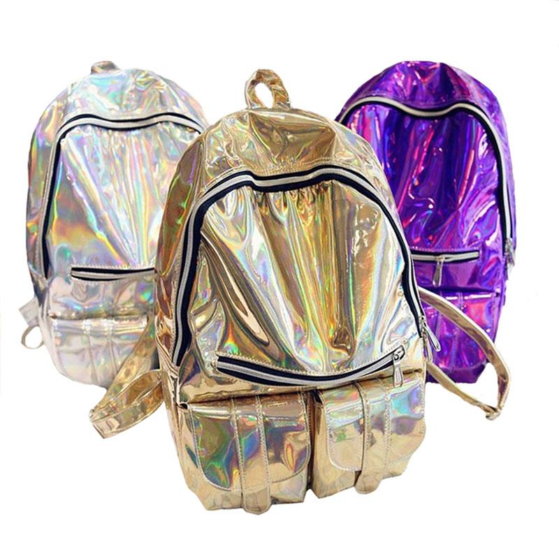 337190063d Wholesale Designer Ladies Backpacks Women Rainbow Colorful Metallic Silver  Laser Holographic Backpack School Bags For Teenagers Girls Messenger Bags  Leather ...
