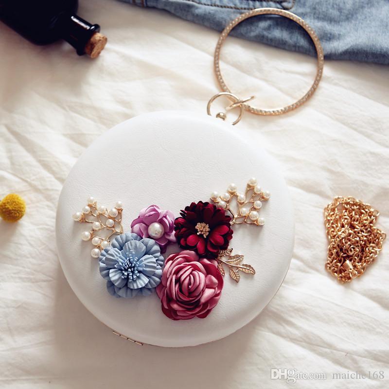 Fashion New Flower Dinner Handbag Women's Mini Chain Round Shoulder Bag