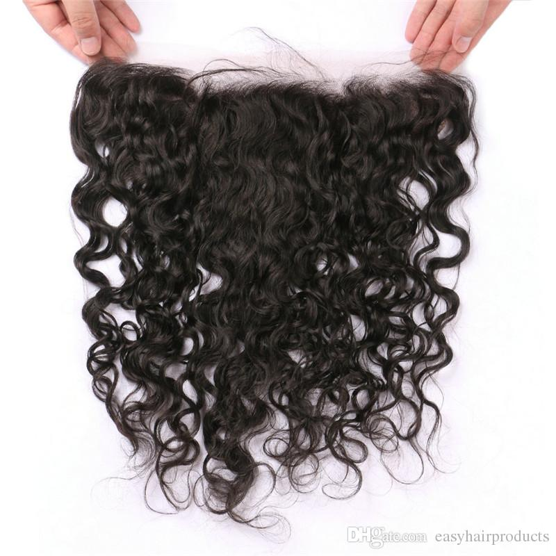 Wet And Wavy Human Hair Bundles With Lace Frontal Closure 13*4inch Virgin Indian Hair Weaves Closure G-EASY