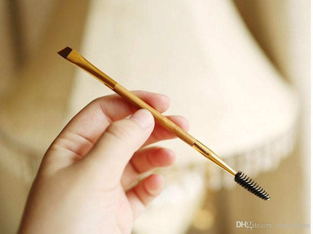 Halu Double Fin Brosse À Sourcils Beauté Double Bambou Maquillage Pinceaux Mélange Mascara Cils Cils Brosse Pour Les Yeux Cosmétique Maquillage Outils