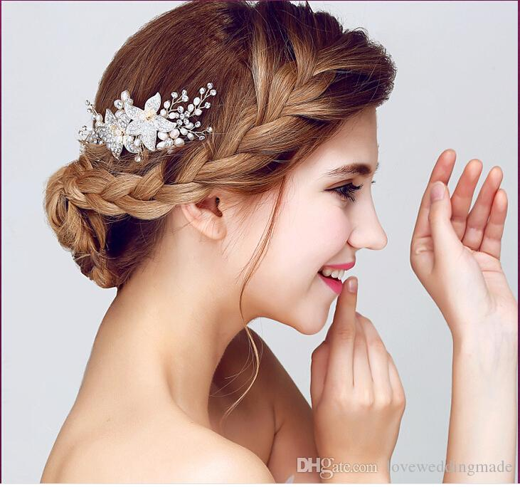 High Quality 2017 Siver White Color Pearl Flowers Bridesmaid Headpieces Wedding Accessories Fascinators Hair Pins Clips Jewelry