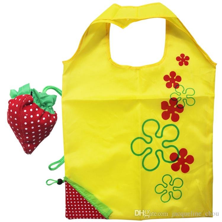 DHL Free Creative Portable Strawberry Bags Foldable Shopping Bag Gift Reusable Environmental Polyester Pouch Eco-Friendly Shopping Bags