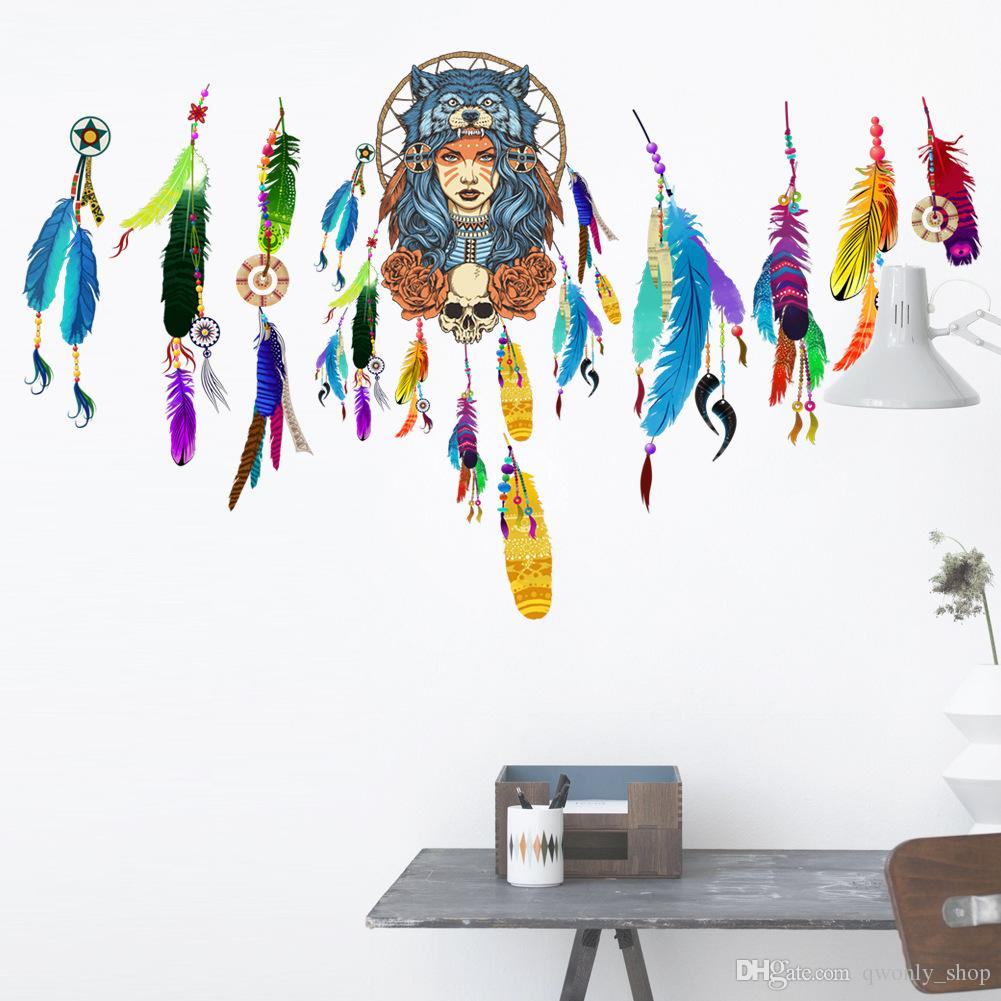 Dream Catcher Flying Feathers Wall Sticker Symbol Home Decor Bedroom Living room Wall Decals Art Poster Mural