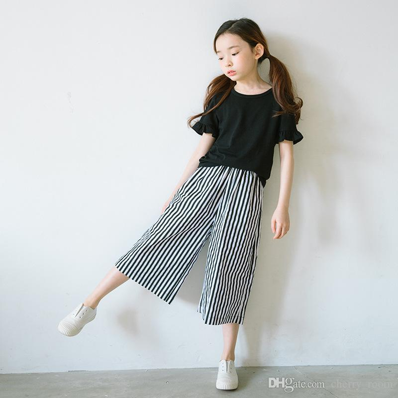 2018 New 2017 Big Girls Outfits Suits Black Tops T Shirts + Loose Vertical Striped Pants ...