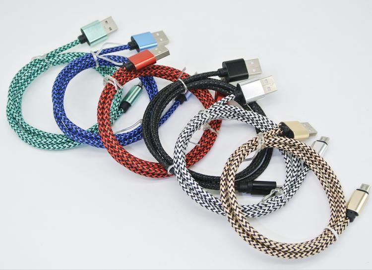Micro USB-typ C 1M 3FT 2.0A WAVE Flätad Aluminiummetalladapter Laddare Kabel Nylon flätad ledning Tråd för smart telefon