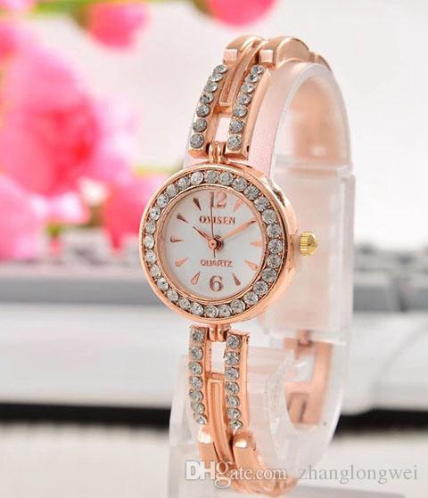 2017 fashion Top brand women watch rose gold special steel band Lady quartz Wristwatches