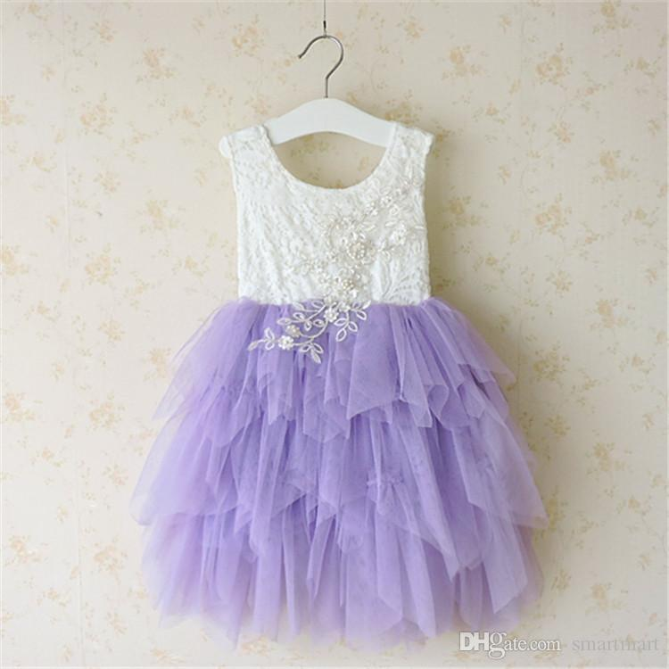 Everweekend Girls Ruffles Lace Pearl Tutu Dress Vintage Korea Sweet Baby Summer Dress Princess Western Party Clothing