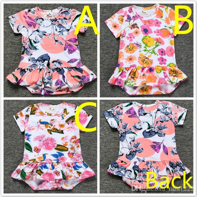 New Baby Girls Rompers Bodysuits Sleepwear Infants Toddlers Cotton Floral Ruffles  Triangles Jumpsuits One Piece Night Wear Clothes For 0 3T UK 2019 From ... dfaec2ff9