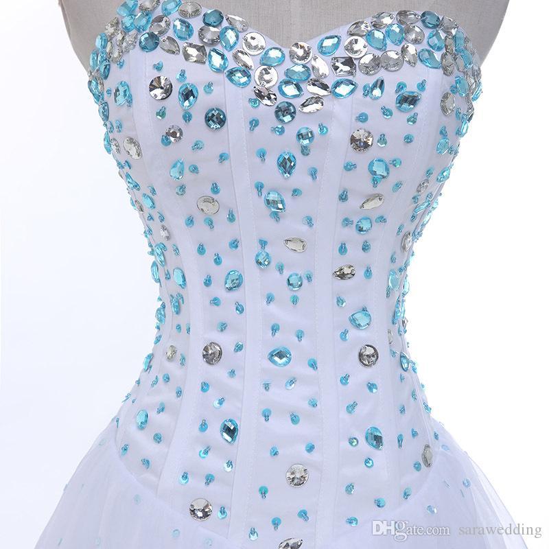 Vestido de fiesta corto con cordones de novia de tul de cristal con cordones hasta la rodilla 2019 Vestido de fiesta elegante Vestido de fiesta elegante