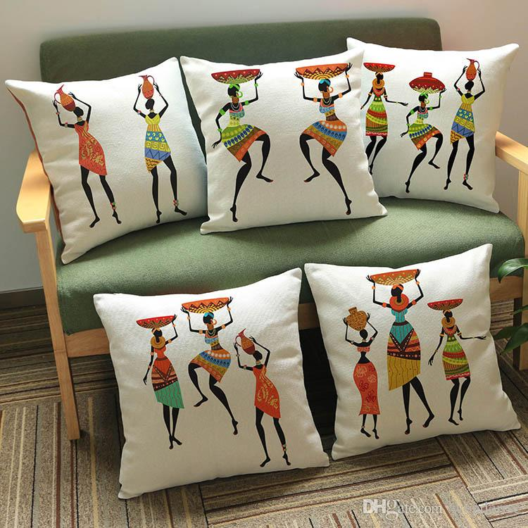 9 Styles Colour Painting African Woman Dancing Cushion