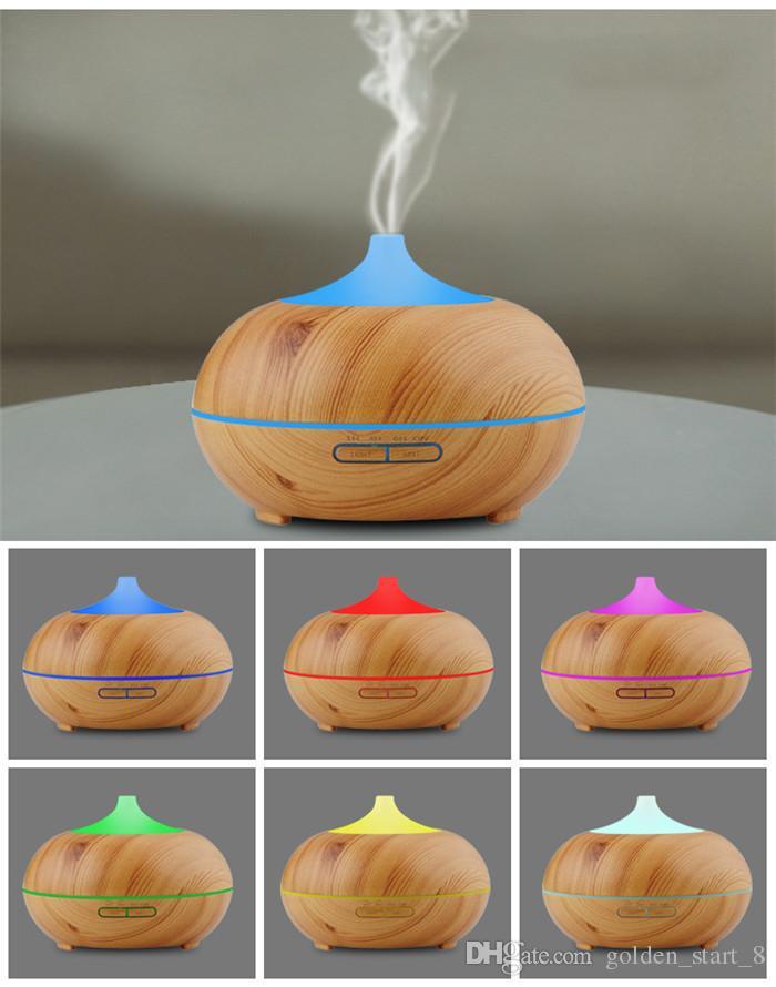 300 ml Aroma Esansiyel Yağı Difüzör Ahşap Tahıl Ultrasonik Serin Mist Nemlendirici Ofis Ev Yatak Odası Oturma Odası Çalışma için Yoga Spa