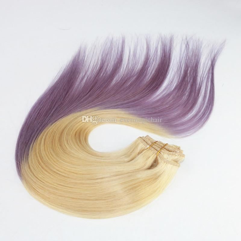 Ombre Color 613/Lavender Virgin Hair Straight Best Selling Top Grade Human Hair Clip In HairExtensions 100G Bundle