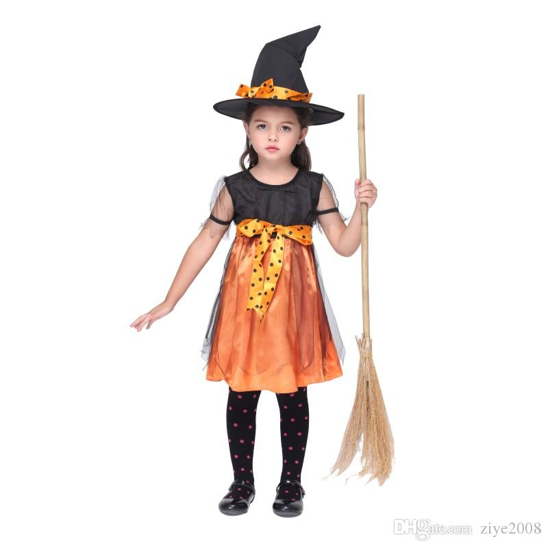 Kids Witch Cosplay Costumes Halloween Witch Pumpkin Costumes Children Cotton Bowknot Witch Dress + Witches Hat Kids Set Outfit Stage Wear Halloween Costume ...  sc 1 st  DHgate.com & Kids Witch Cosplay Costumes Halloween Witch Pumpkin Costumes ...