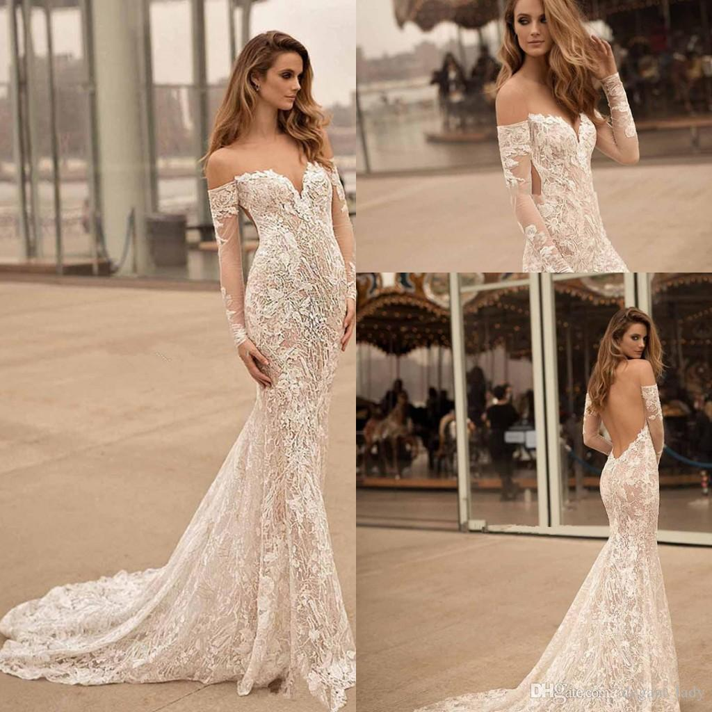 fd731f7b3a01 Long Sleeves Off The Shoulder Wedding Dresses 2018 Berta Bridal Sweetheart  Neckline Elegant Sexy Open Low Back Lce Applique Wedding Gown Wedding  Dresses On ...