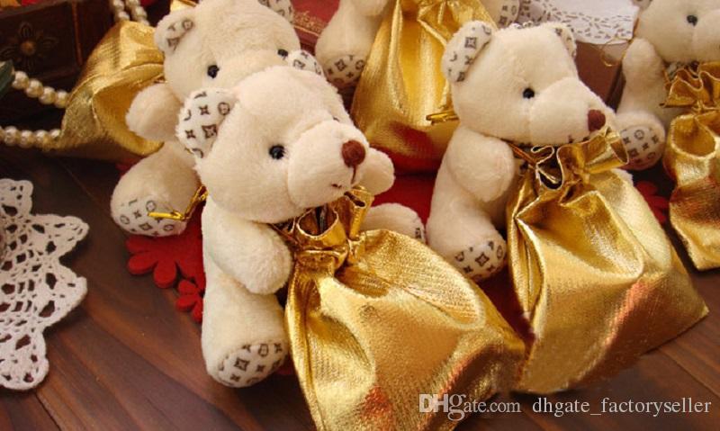결혼식 상아 테디 베어 사탕 가방 결혼식 호의 파티 선물 홀더