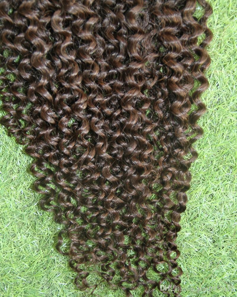 # 4 بني داكن غريب مجعد كليب في ملحقات الشعر 9 قطع كليب الأمريكي الأفريقي في الشعر البشري 100 جرام الأفرو غريب مجعد كليب