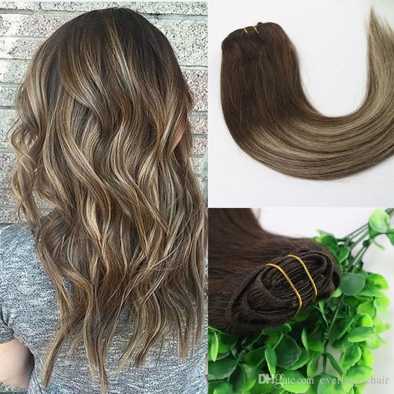 8a 120gram Clip In Human Hair Extensions Ombre Brown Human Hair