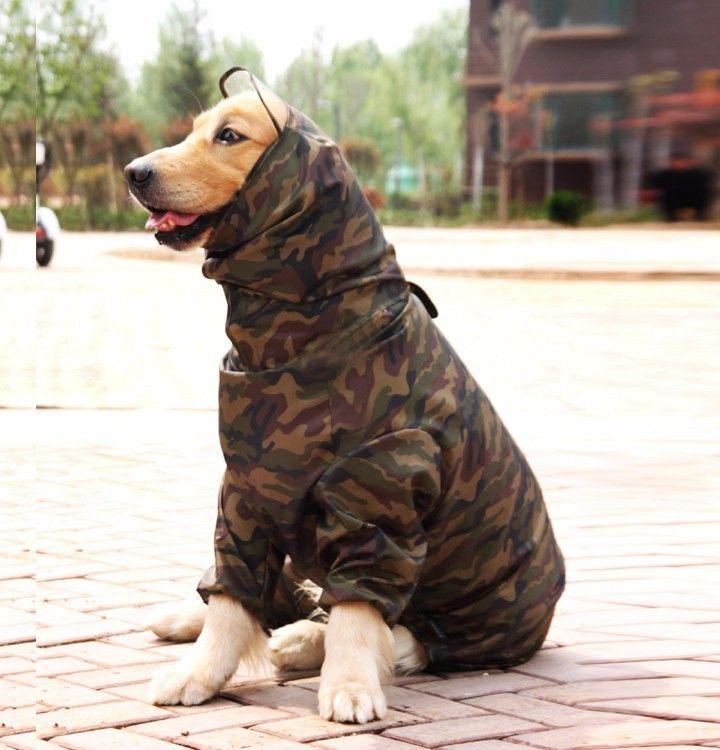 Ropa Para Perros Camuflaje Impermeable Ropa Ligera Impermeable Perro Grande Golden Retriever Impermeable Con Overoles Para Mascotas Hood