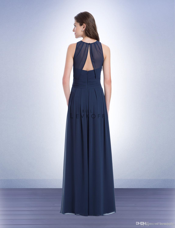 Bill Levkoff A Line Jewel Longitud del piso Vestido de dama de honor azul marino con la espalda Vestido de baile de estilo coreano Vestido de dama de honor junior barato