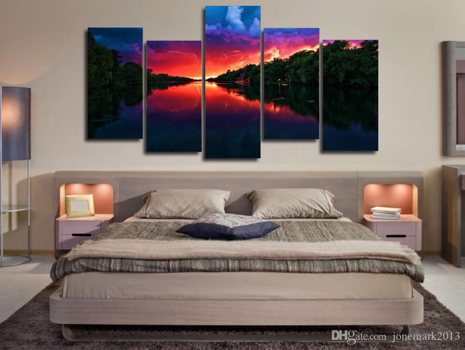 Framed HD Printed Amazing Red Sky Lake Picture Wall Art Canvas Print Room Decor Poster Canvas Painting Wall