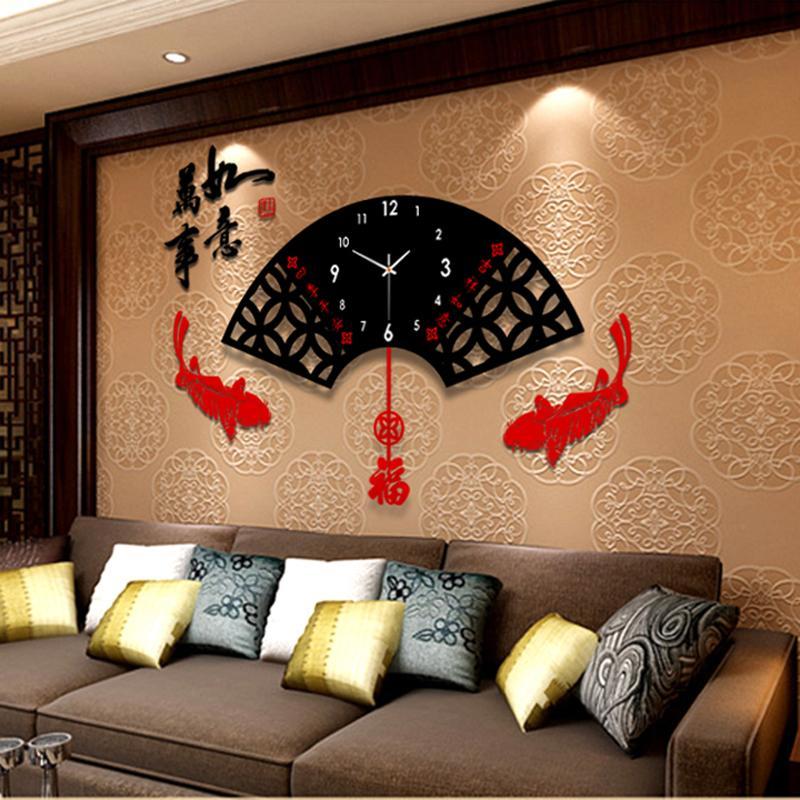 Wholesale Chinese Modern Creative Living Room Wall Clock/ Large Chinese  Style The Fan Shape Fashion Art Wall Clock/ Mute Quartz Watches Wall Clocks  Kitchen ...