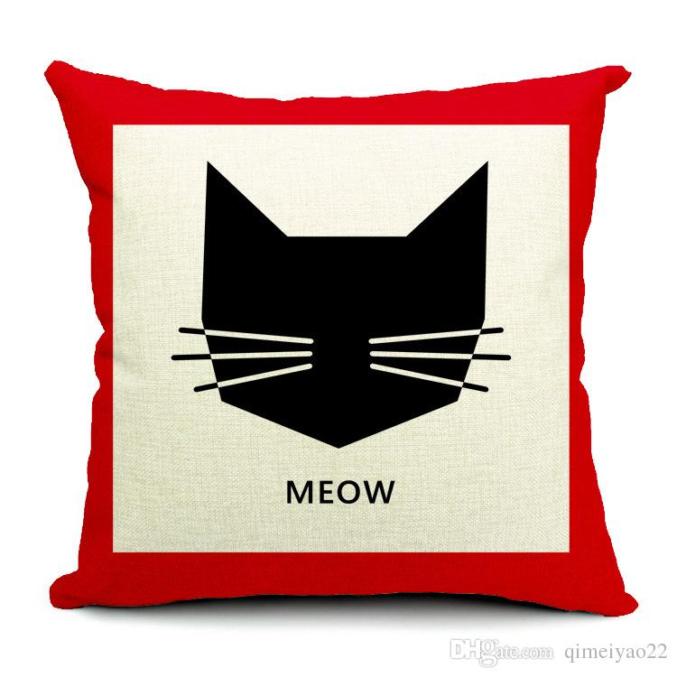Cat Pillow Cover Minimalist Scandinavian Cute Cartoon Cat Cushion Cover Personality Thicked Cotton Linen Sofa Pillow Case
