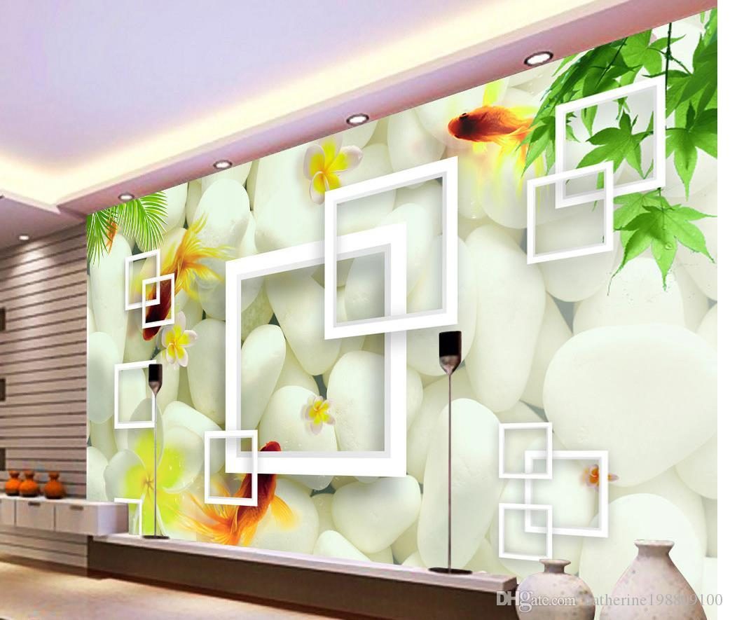 Fashion Customized Simple atmosphere maple leaf goldfish fish stone mural 3d wallpaper 3d wall papers for tv backdrop