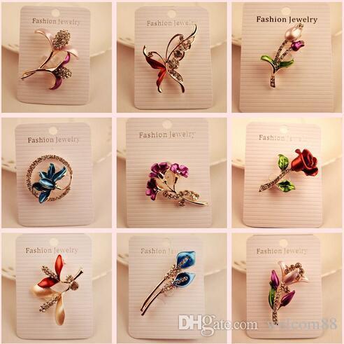10 teile / los Mix Stil Mode Kristall Schmuck Broschen Pins Für DIY Handwerk Geschenk BR06
