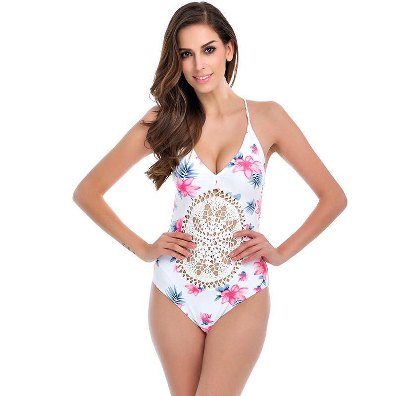 TQSKK Sexy One Piece Swimsuit 2017 Summer Swimming Mesh Bodysuit High Cut Crochet Monokini Swimsuit Swimwear Women Bathing Suit